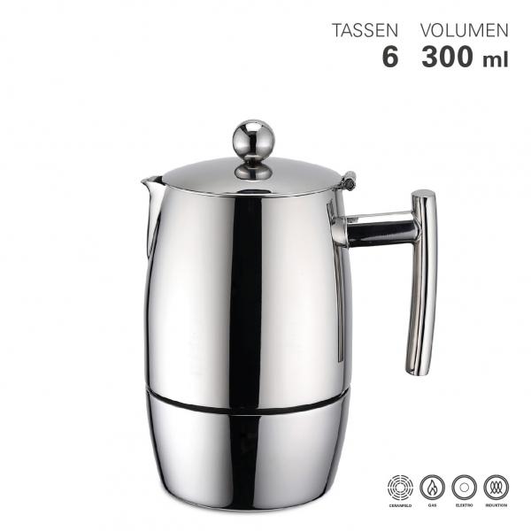 Espressokocher exklusiv, 6 Tassen