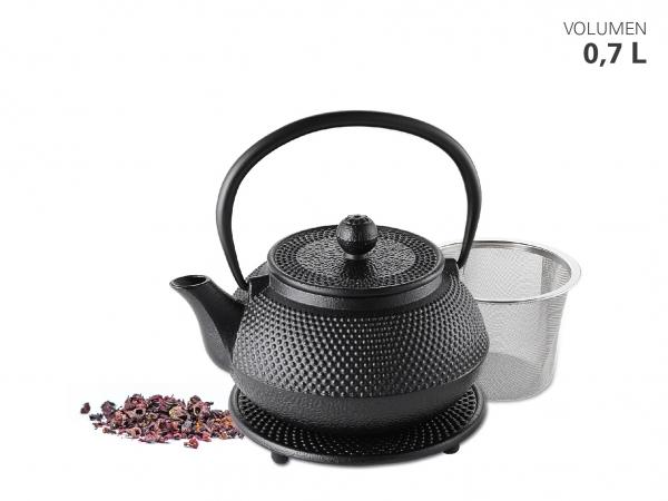 Teekanne Gusseisen 700 ml + Untersetzer