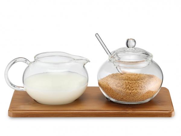 Zucker-/Sahne Set Glas mit Bambustablett