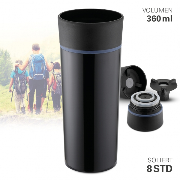 Thermobecher vakuum schwarz 360 ml