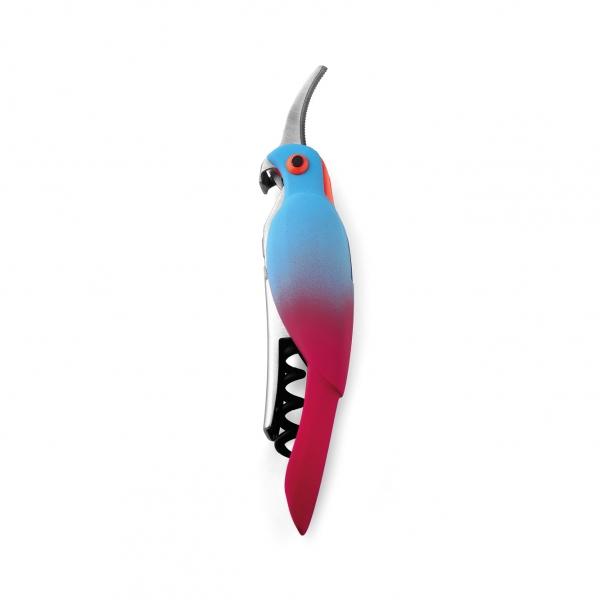 Kellner-Korkenzieher Papagei blau-rot