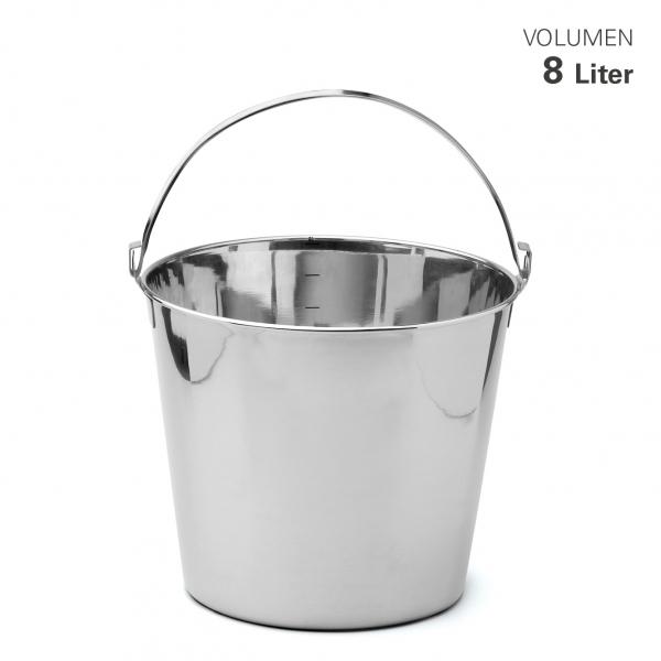 Edelstahleimer mit Skala 8 Liter