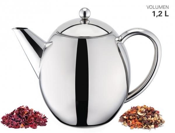 Teekanne doppelwandig 1200 ml mit Filter
