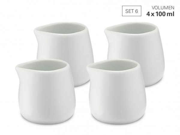 Milchgießer 100 ml - Set 4 aus Porzellan