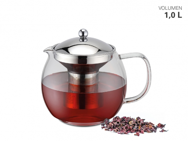 Teekanne Borosilikatglas mit Teefilter 1000 ml