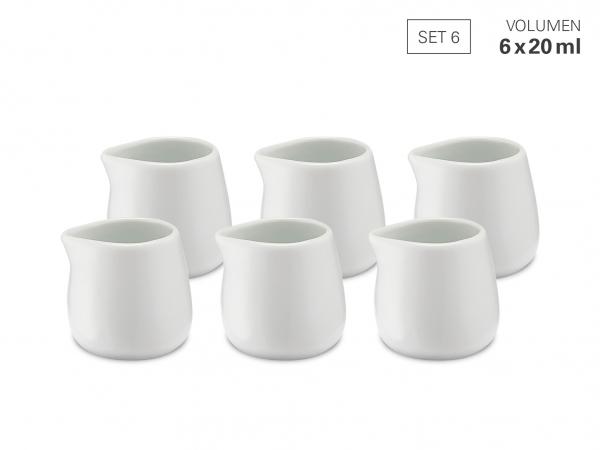 Milchgießer 20 ml - Set 6 aus Porzellan